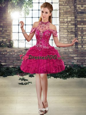On Sale Fuchsia Ball Gowns Beading and Ruffles Lace Up Tulle Sleeveless Mini Length