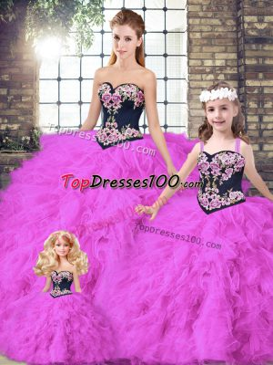 Admirable Floor Length Ball Gowns Sleeveless Fuchsia Sweet 16 Dress Lace Up