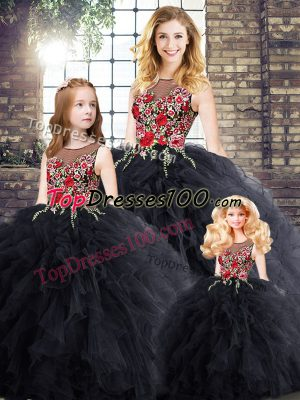 Amazing Black Ball Gowns Embroidery and Ruffles Sweet 16 Dress Zipper Sleeveless Floor Length