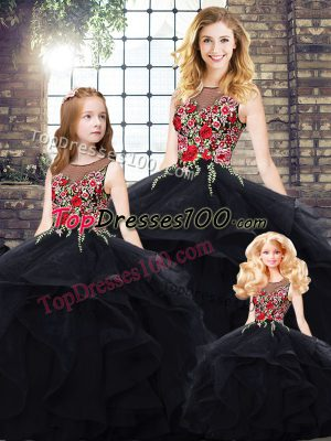 Top Selling Black Lace Up Quinceanera Dresses Beading and Embroidery Sleeveless Floor Length