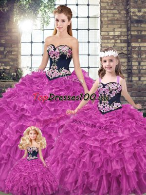 Fuchsia Lace Up Ball Gown Prom Dress Embroidery and Ruffles Sleeveless