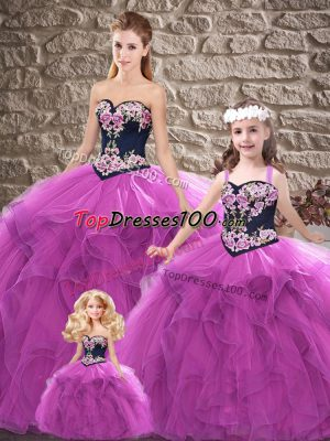 Trendy Purple Sleeveless Tulle Lace Up Quince Ball Gowns for Sweet 16 and Quinceanera