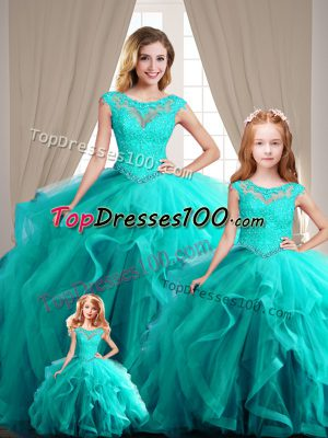 Best Selling Aqua Blue Cap Sleeves Lace Up Sweet 16 Dresses for Sweet 16 and Quinceanera