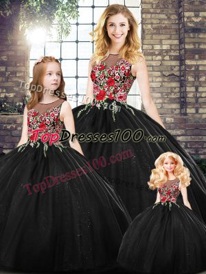 Black Ball Gowns Scoop Sleeveless Floor Length Zipper Embroidery 15th Birthday Dress