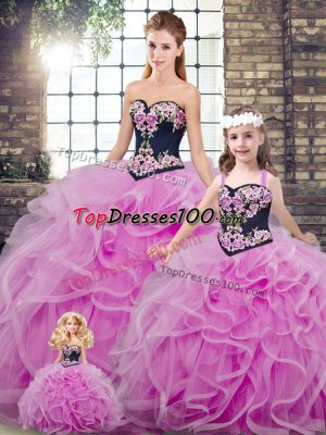 High Quality Embroidery and Ruffles Quinceanera Dress Lilac Lace Up Sleeveless Sweep Train
