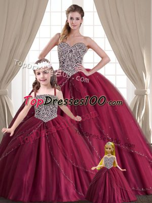 Low Price Floor Length Red 15th Birthday Dress Tulle Sleeveless Beading