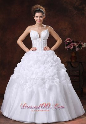 Spaghetti Straps Appliques Decorate Bodice Wedding Dress With Pick-ups Floor-length - Top Selling