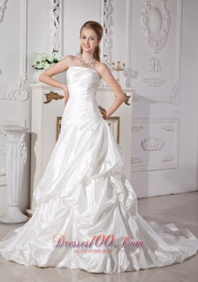 Brand New Wedding Dress A-line Strapless Ruch Court Train Taffeta - Top Selling
