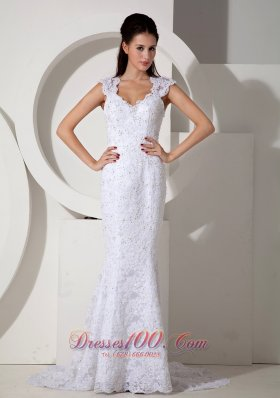 Brand New Mermaid V-neck Lace Wedding Dress Brush Train Beading - Top Selling
