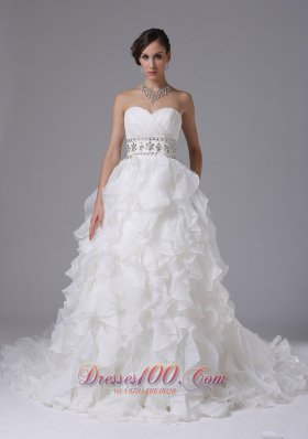 Gorgeous Wedding Dress Ruched Bodice Beaded Decorate Waist and Ruffled Layers In Arnold California - Top Selling