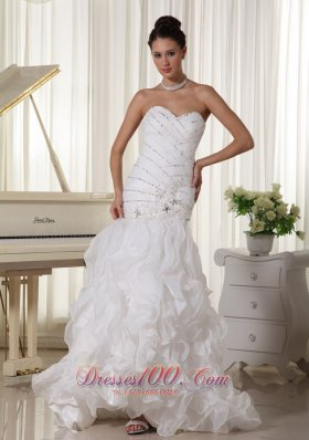 Sweetheart Wedding Dress With Mermaid Beading and Ruffles Florida Brush Train  - Top Selling