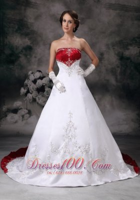 Customize A-line Strapless Wedding Dress Embroidery Satin Chapel Train - Top Selling