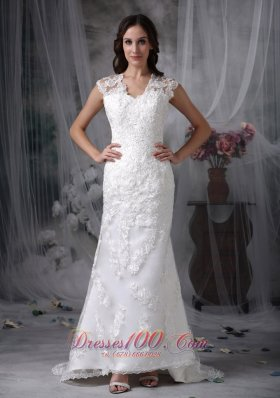 Custom Made Column Wedding Dress V-neck Lace Brush Train - Top Selling