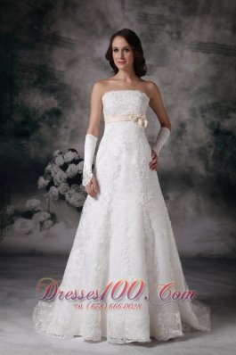 Custom Made A-line Strapless Lace Wedding Dress Bowknot Court Train - Top Selling