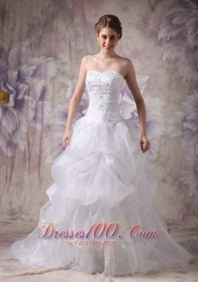 Beautiful A-line Strapless Chapel Train Organza Appliques Wedding Dress - Top Selling