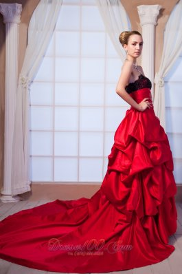 Red A-line Strapless Chapel Train Taffeta Beading and Lace Prom Dress  - Top Selling