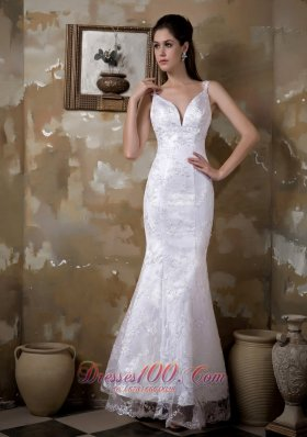 Fashionbale Mermaid Straps Floor Length Satin And Lace Wedding Dress Top Ing