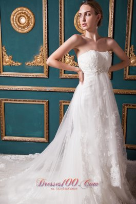 Beautiful A-line Strapless Cathedral Train Tulle Beading Wedding Dress