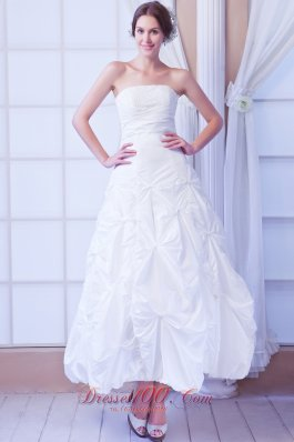 Modest A-line Strapless Ankle-length Taffeta Sequin Wedding Dress