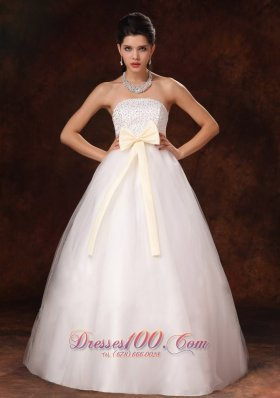Champagne Bowknot A-Line Stylish Maternity Wedding Dress For 2013 Custom Made In Alaska