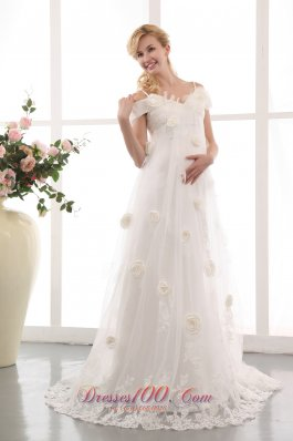 Modest A-line Off The Shoulder Maternity Wedding Dress Appliques and Hand Made Flowers Court Train Lace