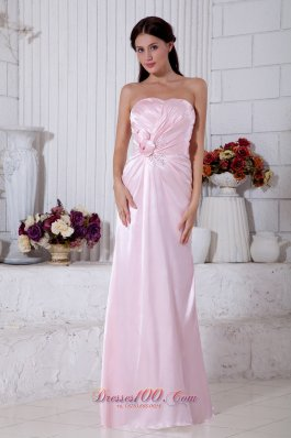 Cheap Light Pink Empire Strapless Beading Bridesmaid Dress Floor-length Elastic Woven Satin
