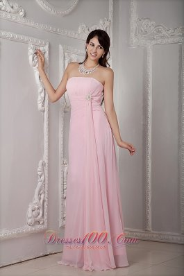Cheap Cheap Baby Pink Bridesmaid Dress Empire Strapless Chiffon Beading Floor-length