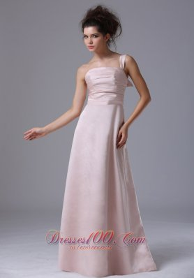 Pink One Shoulder 2013 Prom Dress Taffeta Ruched Column