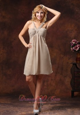 V-neck Grey Chiffon Bridesmaid Dress With Mini-length Ruch Decorate