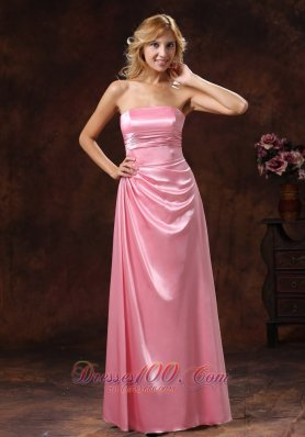 Rose Pink Elastic Woven Satin Strapless Bridesmaid Dress