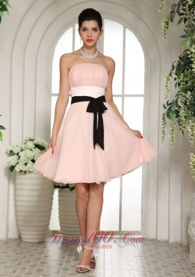 Baby Pink Bridesmaid Dress With Black Sash Knee-length