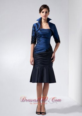 2013 Perfect Navy Blue Mother Of The Bride Dress Column Strapless Beading and Appliques Knee-length Taffeta