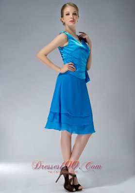 2013 Formal Sky Blue Empire V-neck Mother Of The Bride Dress Knee-length Chiffon Ruch