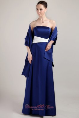New Royal Blue Empire Strapless Floor-length Taffeta Mother of the Bride Dress