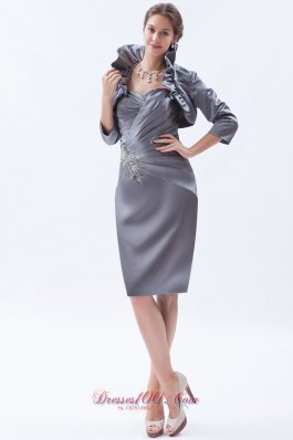 New Grey Column / Sheath Sweetheart Knee-length Satin Beading Mother Of The Bride Dress