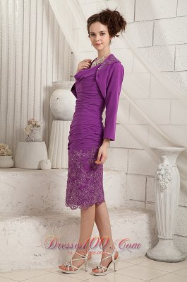 Eggplant Purple Column V-neck Knee-length Chiffon Appliques Mother Of The Bride Dress