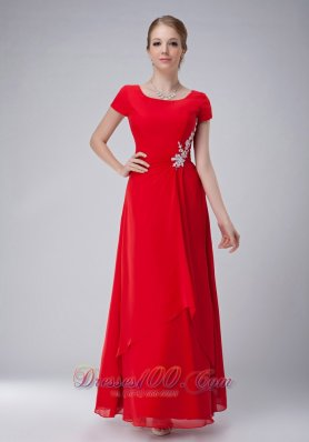 Popular Modest Red Empire Scoop Mother Of The Bride Dress Ankle-length Chiffon Appliques
