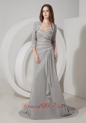 Popular Pretty Grey Mother of the Bride Dress Column / Sheath Sweetheart Chiffon Appliques Brush Train