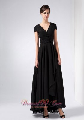 Discount Brand New Black A-line V-neck Sequins Mother Of The Bride Dress Ankle-length Chiffon