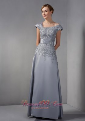 Discount Perfect Gray Column Mother Of The Bride Dress Asymmetrical Appliques Ankle-length Satin