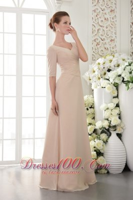 Discount Champagne Column / Sheath V-neck Floor-length Chiffon Beading Mother Of The Bride Dress
