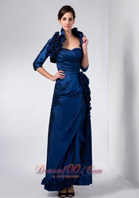 Elegant Luxurious Navy Blue Mother Of The Bride Dress Column Sweetheart Hand Made Flower Ankle-length Taffeta