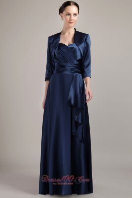 Elegant Navy Blue Empire Halter Floor-length Taffeta Mother of the Bride Mother of the Bride Dress