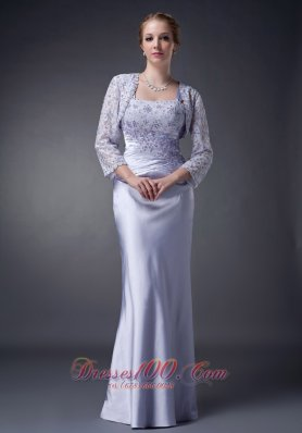 Custom Made Lilac Column Straps Mother Of The Bride Dress Elastic Woven Satin Appliques Floor-length
