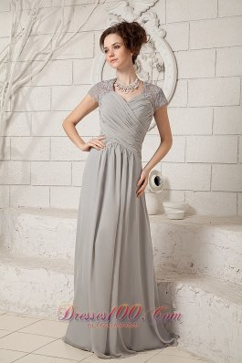Classical Grey Column V-neck Prom Dress Chiffon Lace Floor-length