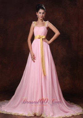 2013 Pink Court Train Bowknot Chiffon A-line Celebrity Prom Gowns For 2013 Custom Made