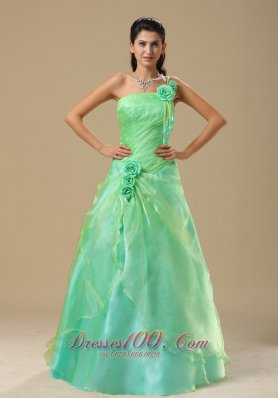 2013 Turquoise Hand Made Folwers and Ruched Bodice In Springfield Illinois Dama Dresses for Quinceanera