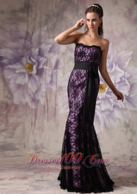 2013 Brand New Eggplant Purple and Black Evening Dress Mermaid Strapless Lace Sashes Brush Train