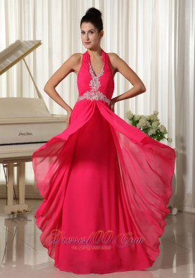 2013 Empire Coral Red Chiffon Halter Waist Appliques With Zipper-up Prom Dress