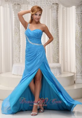 2013 Baby Blue One Shoulder Prom / Evening Dress For 2013 Brush Train Chiffon Beading